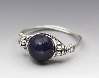Genuine Blue Sapphire Bali Sterling Silver Wire Wrapped Bead Ring - Made to Order, Ships Fast!