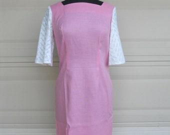SALE 60s Pink Sheath Dress with Lace S-M
