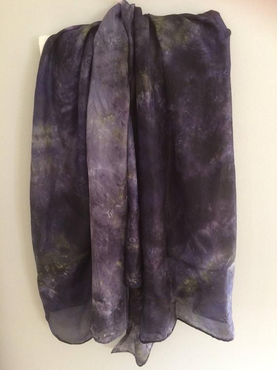 Purple/black silk scarf hand dyed