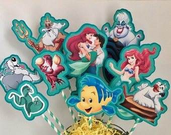 Disney Little Mermaid Set of 9 Centerpiece Picks (Double-Sided)