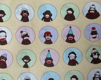 Monkeys'N Round Yellow sock monkey fabric  26030 14