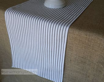 Black and White Ticking Stripe Table Runner Farmhouse Linens Kitchen Dining Room Home Decor Vintage Table Runner