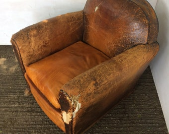 Original French 1920's Art Deco leather club chair