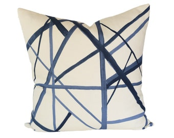 Channels Periwinkle/Oat designer pillow cover - Made to Order - Kelly Wearstler