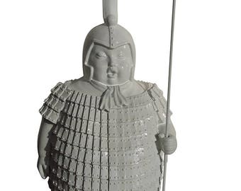 Statue of Samurai Warrior, in white resin, for decoration. Height 14,2 inches