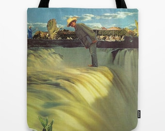Tote Bag - he was fearless that way - inspirational surreal collage art for the brave