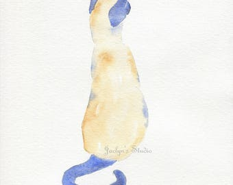 "Original Watercolor Cat, Watercolor Siamese Cat, 8""x10"" cat painting, Cat Art, Siamese Cat Art, Cat Painting, Cat Sketch, Watercolor Feline"