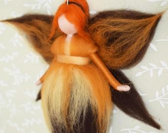 Brown Waldorf fairy, Autumn fairy, Season Autumn table, Fairy natural table, Wool fairy, Felted fairy, Needle felt fairy, Brown pixie, ooak