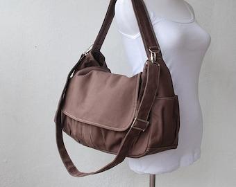 Etsy's 13th Birthday Sale - 25% Messenger Bag Cinnamon, School Bag, Shoulder Bag, Women, Canvas School bag, crossbody bag, Gift for Her