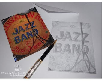 Jazz Band Drum Flat Note Cards