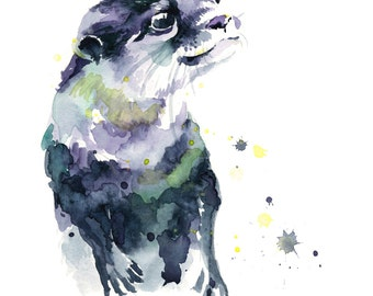 Otter Pup Watercolor Fine Art Giclee Print / Smiling Otter / Marine animal painting/ Wildlife painting