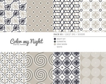 80% OFF SALE Digital Paper Neutral 'Pack03' Scrapbook Papers Digital Backgrounds for Scrapbooking, Invitations, Decoupage, Crafts...