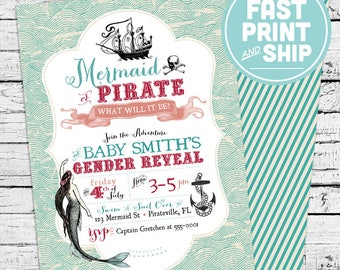 Printed Mermaid and Pirate Gender Reveal Invitations and Envelopes