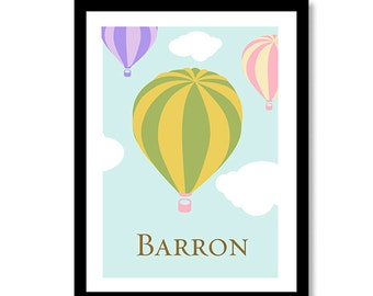 Customizable Hot Air Balloon Name Print -Gender Neutral Baby Decor Nursery wall art, kids art, colors can be changed are per your choice