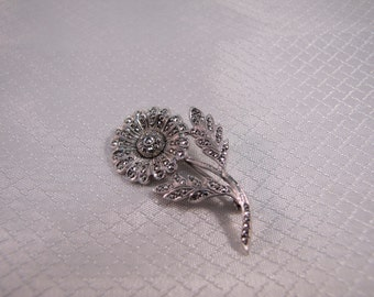 c1950's Sterling Marcasite Daisy Brooch, Sterling Flower Brooch