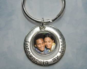 Forever in My Heart Key Chain with Custom Photo Charm - Wedding, Love, Anniversary