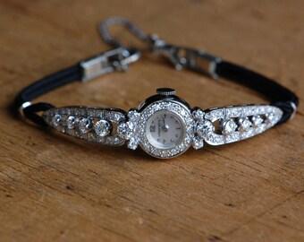 Vintage 1960s Longines 14K diamond ladies wristwatch
