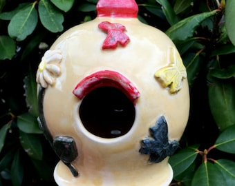 Decorative Ceramic Birdhouse Yellow with Butterflies and Daisy Gift for Her Stoneware Clay Pottery Ready to Ship