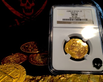 """Spain 2 Escudos """"Dated 1590!"""" Seville Mint NGC 58 Pirate Gold Treasure Coins Doubloon Shipwreck Cob"""