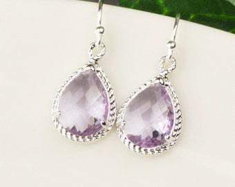 Lavender Earrings - Purple Glass Drop Earrings - Silver Lavender Bridesmaid Earrings - Purple Bridesmaid Jewelry - Wedding Jewelry