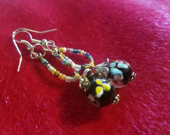 Seed Bead and Glass Danglers