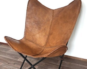 leather butterfly chair etsy. Black Bedroom Furniture Sets. Home Design Ideas