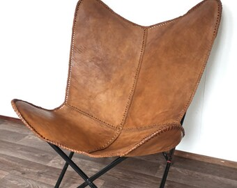 Leather Butterfly Hand Made Chair  LIGHT BROWN