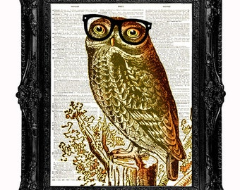 Nerd Owl dictionary art print - geekery art print upcycled vintage dictionary page book art print - Dictionary Art Print College Room Decor