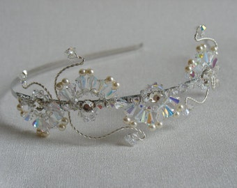 Pearl hair piece. Crystal Tiara. Bridal headband.