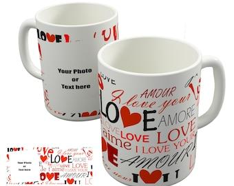 Valentines Mug Love Text Personalised