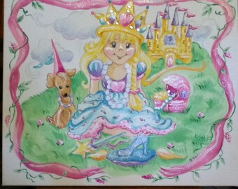 Princess Theme Childrens Art Handpainted Canvas 16 x 20 Castle and Crown with Jewels