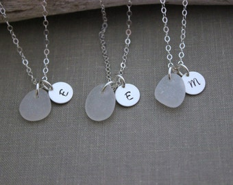 Genuine Sea Glass Initial Necklaces - Personalized Charm Necklace with SeaGlass and Monogram Charm Sterling Silver Bridesmaid, Choice Color