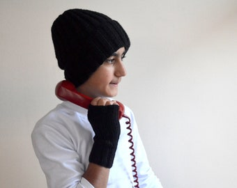 Men Black hat and  GLoves , Black  Winter Slouch Hat and Fingerless Gloves , Man winter  Accessories, Men's Arm Warmer   , Man cozy gift