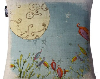 """Square cushion in cotton and linen (cushion A """"Beautiful break"""")"""