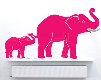 Wall decals MOM & BABY ELEPHANTS Family nursury interior decor by Decals Murals (30x56)