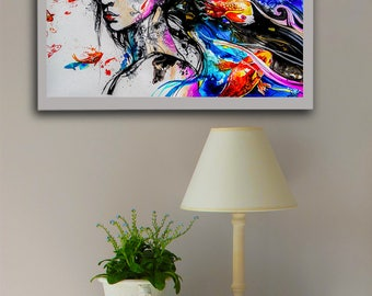 Waves of reality watercolor print, Koi fish, Koi art, Koi print, Kois fish print, Japanese art print, Japanese print, Geisha art