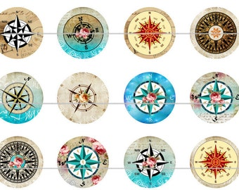 Compass Magnets Pins Party Favors Wedding Favors Rose Compass