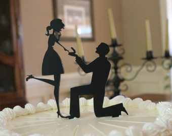 Engagement Cake Topper Silhouette Bride and Groom - Mary