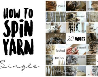 20 HD Videos for Spinning Creative Textured Single Ply Yarn on a Spinning Wheel. SINGLE masterclass. 7.5 Hours of Video Instruction.