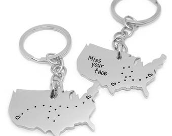 Personalized Key Chain | Long Distance Relationship | Best Friends Gift | USA Cutout | College | Moving Away | Home Sweet Home | America