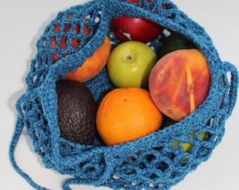 Blue farmers market bag, Cotton market bag, Crochet shopping bag, Beach bag, String bag, Handmade eco friendly bag Crochet tote bag Book bag