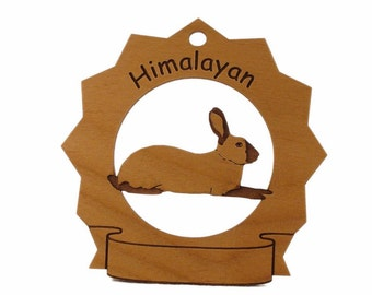Himalayan Rabbit  Personalized Wood Ornament - Free Shipping