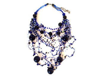 BOHO NECKLACE Long Statement necklace dark BLUE necklace Long beaded necklace Multi Strand Necklace blue Crochet necklace Party necklace
