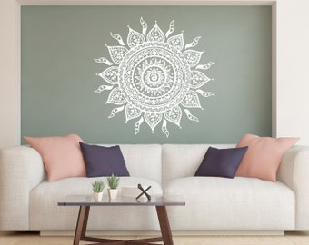 Mandala Wall Decal Lotus Flower Decals Bohemian Decor Wall Decal Home Decor Boho Sticker Bedroom Moroccan Pattern Yoga Studio Decor kp4