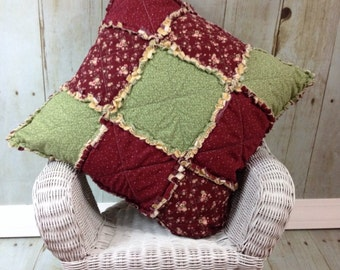 Rag Pillow-Sage Green & Dark Mauve