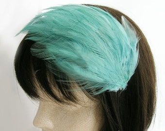 Seafoam Green feather fascinator blank Base (5 fastener option) Derby feather cap for mardi gras, kentucky derby, bridesmaid,or tea party