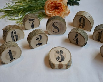 Wedding Table Numbers - Table Number Wedding - Wood Slice Table Numbers - Single Wedding Table Number - Wood Slices - Standing Wood Disc -