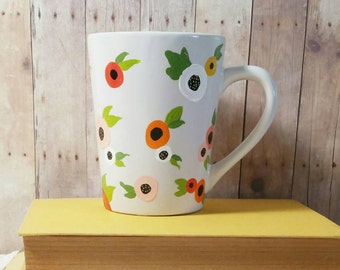 Floral Mug, Hand Painted Coffee Mug, Flower Mug, Whimsical Mug, Colorful Mug, Custom Coffee Mug, Painted Mug, Gift for Her