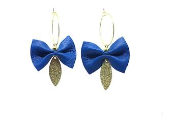 Blue earrings Royal leather shaped bow, mounted on Golden Hoop Earrings