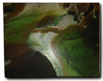 """Original Abstract Acrylic Pour Fluid Art Painting-Dream of Guacamole/ Brown/Green/White/Black/ 11"""" x 14"""" Canvas"""